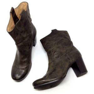 Frye Carson Mid Heel Green Leather Ankle Boots 9.5